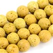 Natural Lava Beads Strands, Dyed, Round, Gold, 8~8.5mm, Hole: 1mm; about 50pcs/strand, 15.9