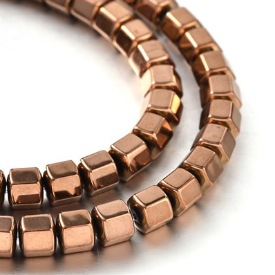 Electroplate Non-Magnetic Hematite Polygon Beads Strands, Copper Plate