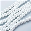 Pearlized Glass Round Beads Strand, White, 8mm in diameter, hole: 1mm