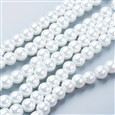 Pearlized Glass Round Beads Strand, White, 8mm in diameter, hole: 1mm(K-HY-8D-B01)