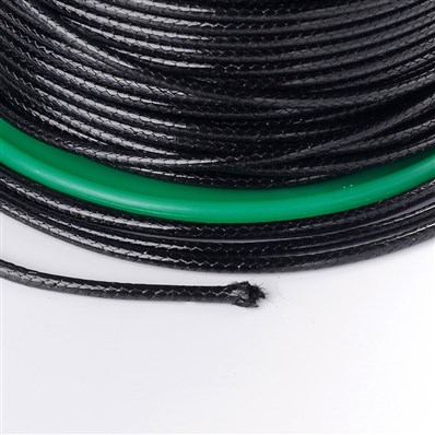 Cotton Wax Cord, Black, 2mm