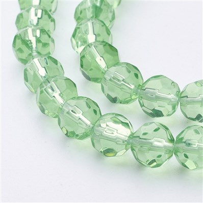 Glass Beads Strands, Faceted, Round, LightGreen, 8mm in diameter, hole