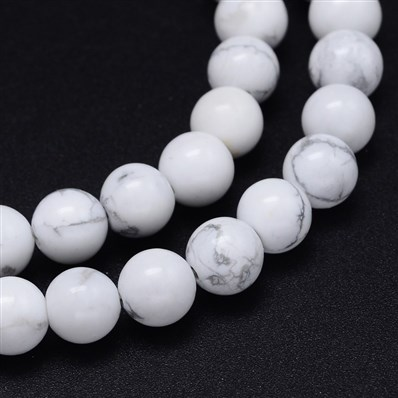 Round Natural Howlite Bead Strands, 6mm, Hole: 1mm, about 65pcs/strand