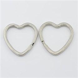 Iron Split Key Rings, Valentine's Jewelry Findings, Heart, Platinum Color, 31mm in diameter, 3mm thick, 25mm inner diameter