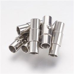 304 Stainless Steel Magnetic Screw Clasps, Column, Stainless Steel Color, 5mm wide, 18mm long, 4mm inner diamete