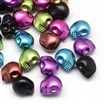 Matte Spray Painted Skull Acrylic Beads, Mixed Color, 13mm long, 9~10mm wide, 12mm thick, hole: 2mm