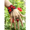 Gothic Style Butterfly Bracelet Rose Finger Ring Linked Jewelry, with Iron Chains & Alloy Lobster Claw Clasps, Antique Bronze, Red, 130mm; 17mm