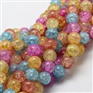 Dyed Crackle Glass Round Beads Strands, Colorful, 10mm, Hole: 1mm