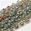 Defective Closeout Sale. Faceted Round Half Plated Electroplate Glass Beads Strands, Green Plated, 8mm in diameter, hole: 1mm