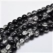 Two Tone Crackle Glass Round Bead Strands, Grade AA, Black, 10mm in diameter, hole: 1mm