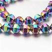 Electroplate Non-magnetic Synthetic Hematite Bead Strands, Polygon, Multi-color Plated, 8x8mm, approx 45~51 beads / strand
