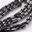 Magnetic Hematite Beads Strands, Eighteen Facets, Tube, Black, 5mm in diameter, 8mm long,