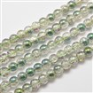 Electroplate Crackle Glass Round Bead Strands, Half Rainbow Plated, DarkSeaGreen, 8mm in diameter, hole: 1mm