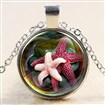 Glass Fantasy Underwater World Pink Starfish Time Gem Pendant Necklaces, with Alloy Chains, Silver, 18
