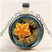 Glass Fantasy Underwater World Orange Starfish Time Gem Pendant Necklaces, with Alloy Chains, Silver, 18