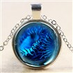 Glass Fantasy Underwater World Blue Sea Urchin Time Gem Pendant Necklaces, with Alloy Chains, Silver, 18