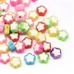 Transparent Flower Acrylic Beads, Bead in Bead, Mixed Color, 10mm long, 10mm wide, 4mm thick, hole: 2mm