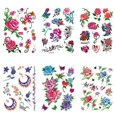 Rose & Butterfly Cool Body Art Removable Fake Temporary Tattoos Paper Stickers, Mixed Color, 11~148x10~108mm(AJEW-K003-102)