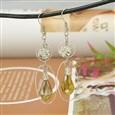 Fashion Glass Earring, with Brass Earring Hooks, Goldenrod, 65mm(EJEW-JE00531-02)