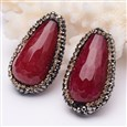 Dyed Faceted Drop Natural Jade Beads, with Polymer Clay Grade A Rhinestone, DarkRed, 17mm wide, 31mm long, 13mm thick, hole: 2mm(G-D713-02)