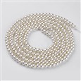 Glass Pearl Beads Strands, Round, Pearlized, Ivory, 4mm in diameter, hole: 1mm(K-HY-4D-B02)