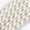 Glass Pearl Beads Strands, Pearlized, Round, Ivory, 8mm in diameter, hole: 1mm(K-HY-8D-B02)