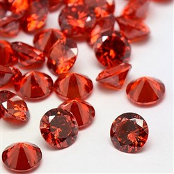 Cubic Zirconia Cabochons, Grade A, Faceted, Diamond, Red, 8mm in diameter, 4.6mm thick