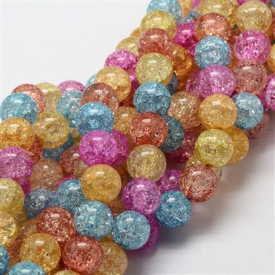 Dyed Crackle Glass Round Beads Strands, Colorful, 12mm, Hole: 1mm