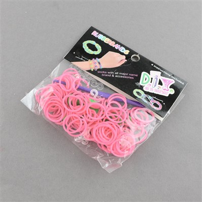 DIY Rubber Loom Bands Refills with Accessories, Pink