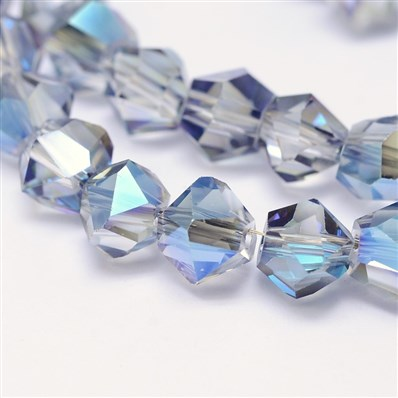 Electroplate Glass Beads Strands, Faceted Polygon, SkyBlue, 8mm in dia
