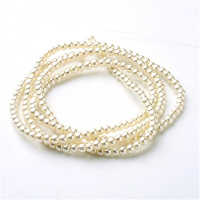 Wholesale-Glass Pearl Beads Strands, Pearlized, Round, Ivory/white, 3m