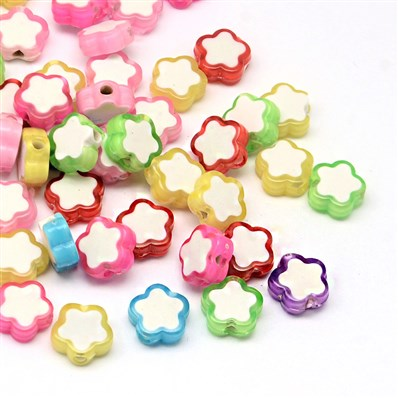 Transparent Flower Acrylic Beads, Bead in Bead, Mixed Color, 10mm long