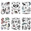 Mixed Shape Cool Body Art Removable Fake Temporary Tattoos Paper Stickers, Mixed Color, 16~82x12~108mm