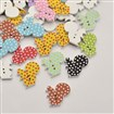 Polka Dot Pattern Squirrel Dyed 2-Hole Printed Wooden Buttons, Mixed Color, 22mm wide, 20mm long, 2.5mm thick, hole: 1mm
