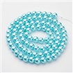 Glass Pearl Beads Strands, Pearlized, Round, LightCyan, 10mm in diameter