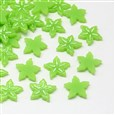 Carambola Resin Cabochons, Imitation Food, LawnGreen, 16mm long, 16mm wide, 2.5mm thick(CRES-R183-12)