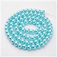 Glass Pearl Beads Strands, Pearlized, Round, LightCyan, 10mm in diameter(HY-10D-B12)