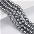 Shell Pearl Beads Strands, Grade A, Polished, Round, Dyed, Gray, 8mm(SP8MM712)