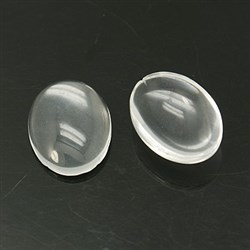 Transparent Glass Cabochons, Oval, 19-20x29.5-30x7mm