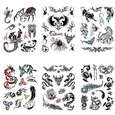 Mixed Shape Cool Body Art Removable Fake Temporary Tattoos Paper Stick