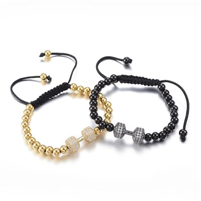 304 Stainless Steel Braided Bead Bracelets, with Brass Micro Pave Cubi