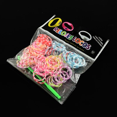 DIY Rubber Tie Dye Loom Bands Refills for Kids, Mixed Color, 100x110x1