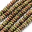 Natural Unakite Beads Strands, Abacus, 12mm in diameter, 5mm thick, hole: 1mm, approx 30~35 beads / strand, 7.87