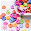 Flat Round 2-Hole Buttons, Resin Button, Mixed Color, 9mm in diameter, hole: 1mm, approx 2000 buttons/bag