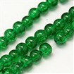 Crackle Glass Beads Strands, Round, Dyed, Green, 8mm in diameter, hole: 1mm