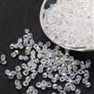 Imitation Crystallized Glass Beads, AB Color, Faceted, Bicone, Clear, 4mm in diameter, 3.5mm thick, hole: 1mm