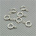 Sterling Silver Spring Ring Clasps, Silver, 5mm wide, 7mm long, 1mm thick, hole: 1.5mm(STER-A007-32)