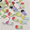 Fish Dyed 2-Hole Printed Wooden Buttons, Mixed Color, 25mm wide, 13mm long, 2.5mm thick, hole: 1mm