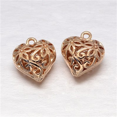 Rack Plating Brass Hollow Charms, Heart, Light Gold, 10mm wide, 12mm l