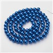 Glass Pearl Beads Strands, Pearlized, Round, SteelBlue, 10mm in diameter